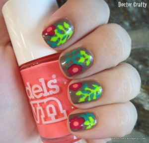 Tropical flowers manicure freehand