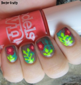 Tropical flowers manicure freehand neon
