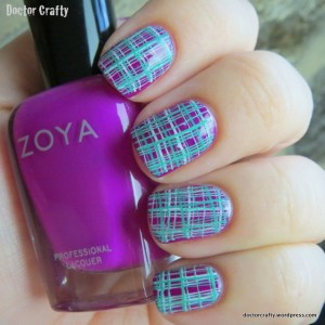 Plaid double nail stamping manicure purple green white