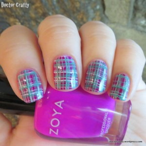 Plaid double nail stamping manicure purple white green