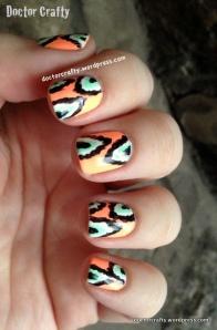 Neon ikat peach green manicure nail art