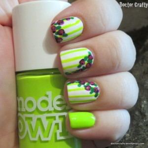 neon green white roses stripes flowers manicure