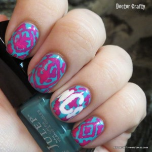 lilly pulitzer monogram nail art freehand manicure teal pink reef madness