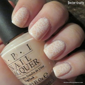 nude lace nail art stamping manicure