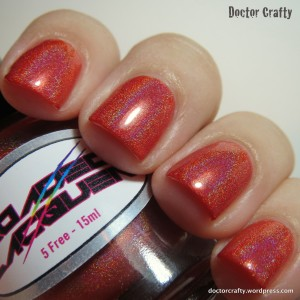 loaded lacquer double shot of sriracha nail polish red holographic swatch