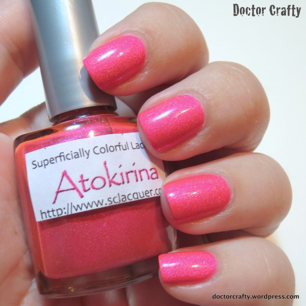 superficially colorful lacquer atokirina life on pandora holographic neon nail polish swatch