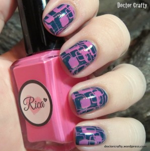 barry m watermelon rica pinky promise nail art stamping geometric manicure