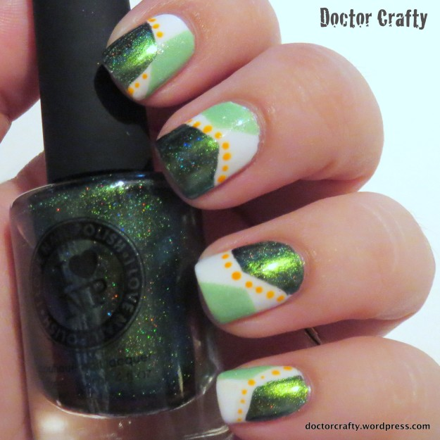 geometric manicure nail vinyls abstract green orange dots i love nail polish reminisce picture polish tail feather orly tropical pop