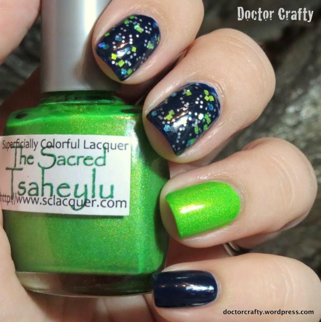 zoya ryan, superficially lacquer the sacred tsaheylu rica unicorn dandruff blue neon holo green glitter skittlette manicure