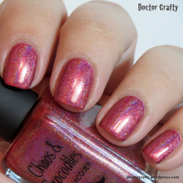 chaos & crocodiles security breach holographic red nail polish holo humpday