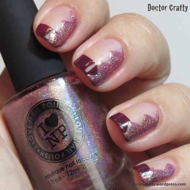 negative space manicure i love nail polish ilnp champagne blush barry m berry cosmo nail vinyls chevron