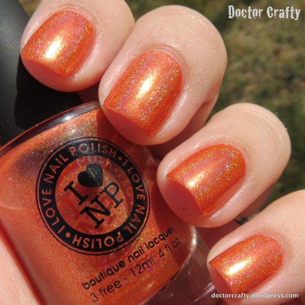 i love nail polish ilnp atomic sherbet holographic orange swatch
