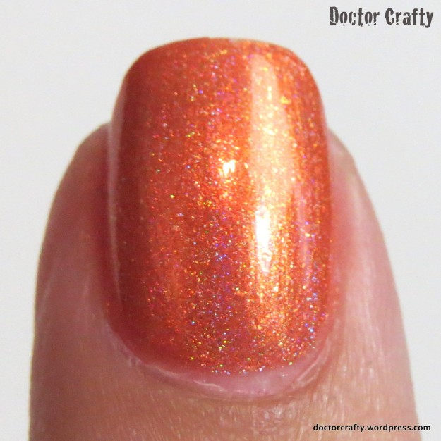 i love nail polish ilnp atomic sherbet holographic orange swatch