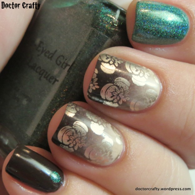 manicure nail polish opi my vampire is buff essie partner in crime good as gold blue-eyed girl lacquer mickey smith, defending the earth doctor who manicure gradient nail art stamping moyou london dotting holo holographic mink muffs