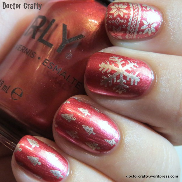 Red and gold holiday stamped manicure