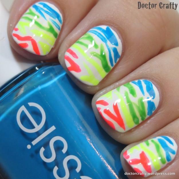 Lisa Frank Zebra Manicure