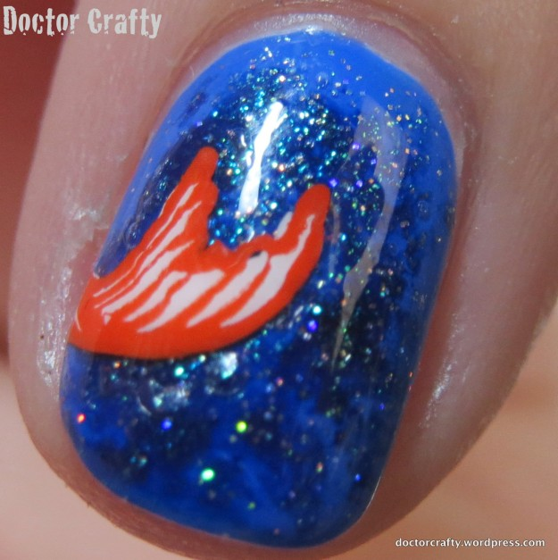 Closeup showing off the base colors - Barry M Damson, Zoya Remy, and China Glaze Fairy Dust