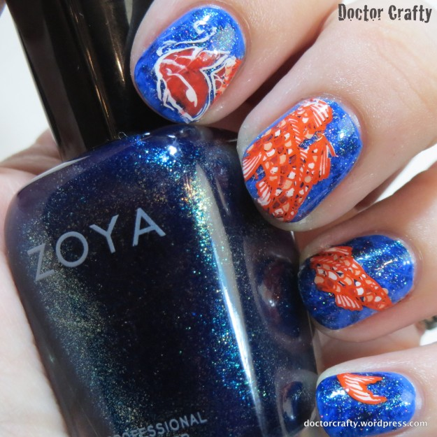 Koi manicure using a stamped decal