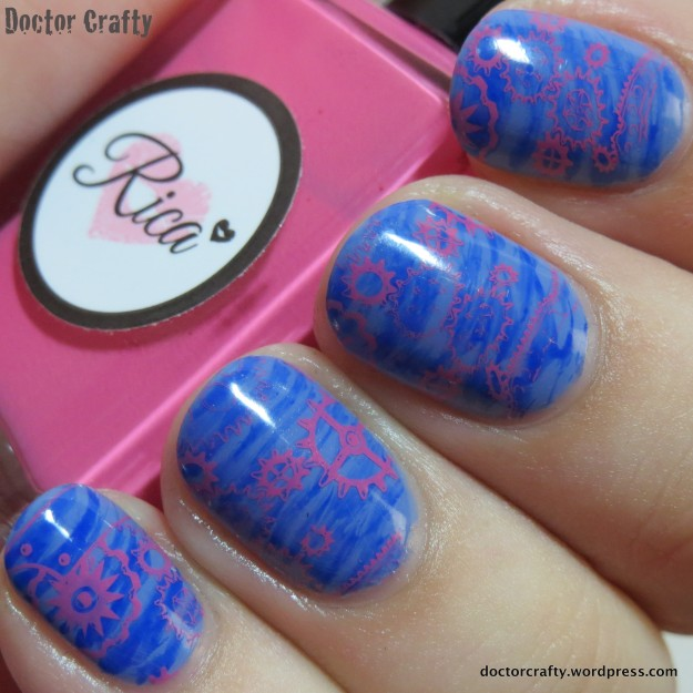 My version of the fanbrush stamped manicure