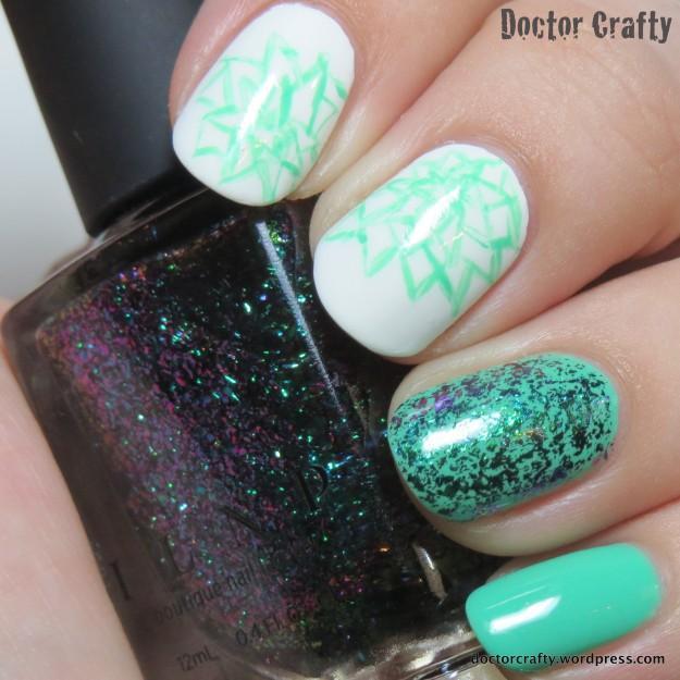 Aqua flakie floral manicure