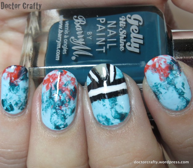 Marbled/ tie-dye manicure inspired by an Elie Saab dress