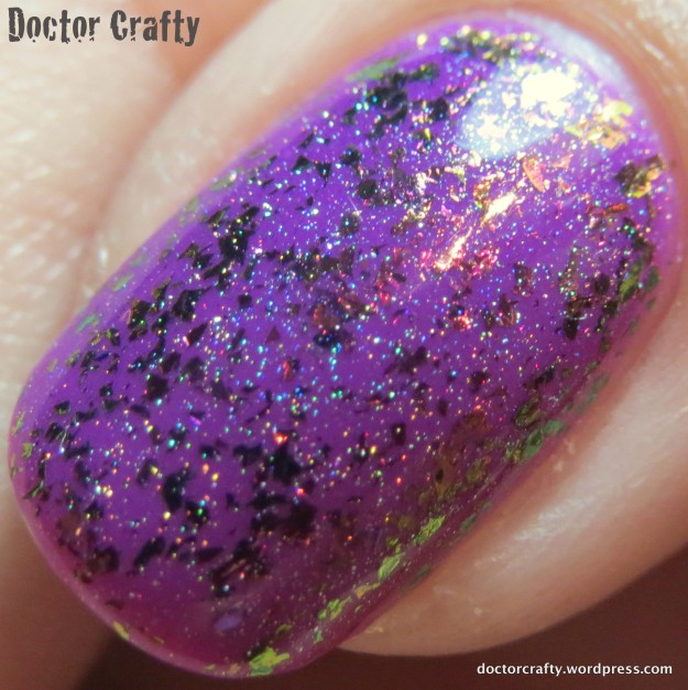 Closeup of ILNP Neon Rosebud (H) over China Glaze Violet Vibes
