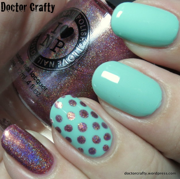 Aqua and blush dotted skittlette