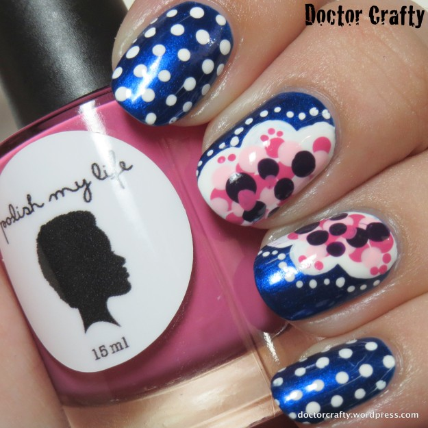 Pink dotted flower manicure