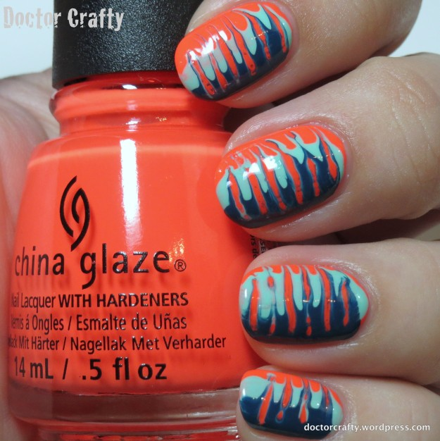 Neon needle drag manicure