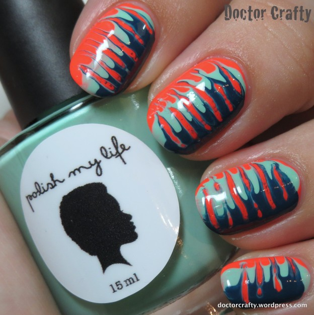 nails, nail polish, nail art, needle drag manicure, china glaze red-y to rave, polish my life 1950s mint fridge, color club baldwin blues, nail challenge collaborative, the polish playground recreation