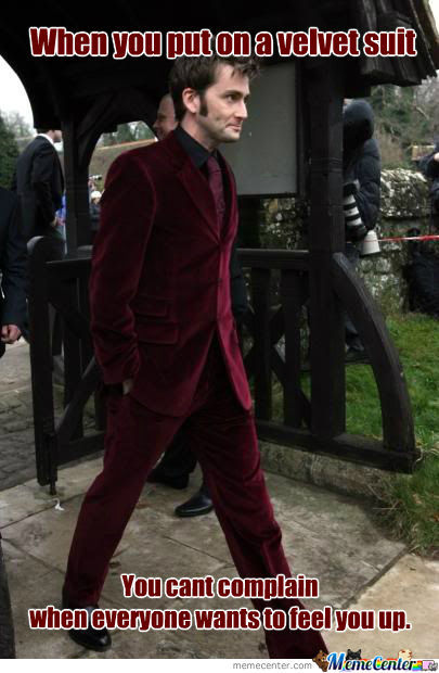 David Tennant doctor who Velvet suit feel up