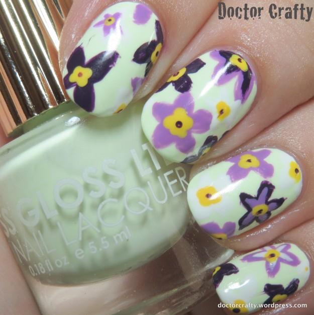 Spring floral manicure