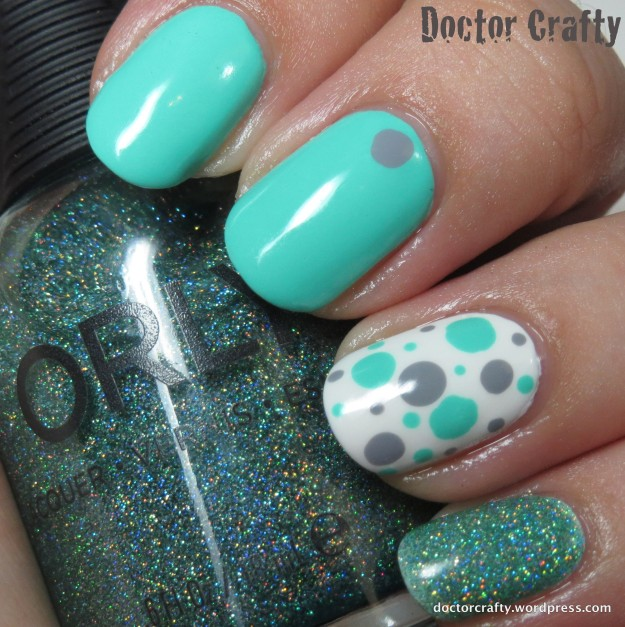 Teal & grey dotted skittlette