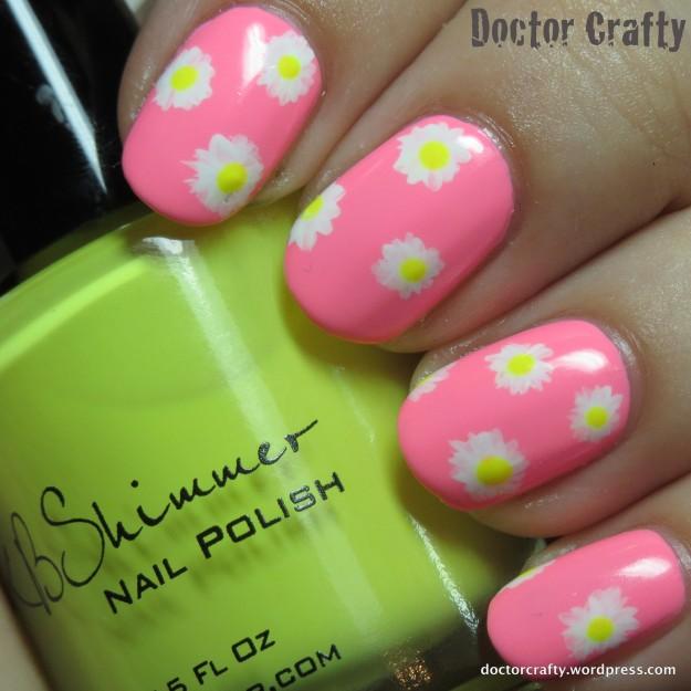 Neon daisy manicure